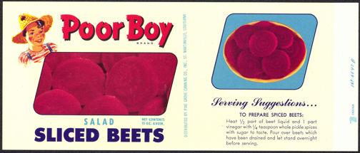 #ZLCA139 - Poor Boy Sliced Beets Can Label