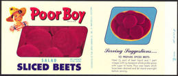 #ZLCA139 - Poor Boy Sliced Beets Can Label