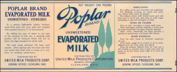 #ZLCA090 - Poplar Evaporated Milk Label