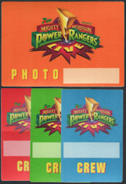 #CH372 - Group of 4 Different Mighty Morphin Power Rangers OTTO Cloth Backstage Passes from the 1994/95 Live Stage Show