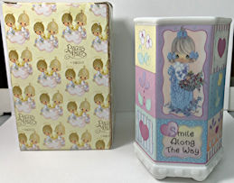 #MS328 - Enesco Precious Moments Ceramic Pencil Cup - Girl with Flowers - Original Box