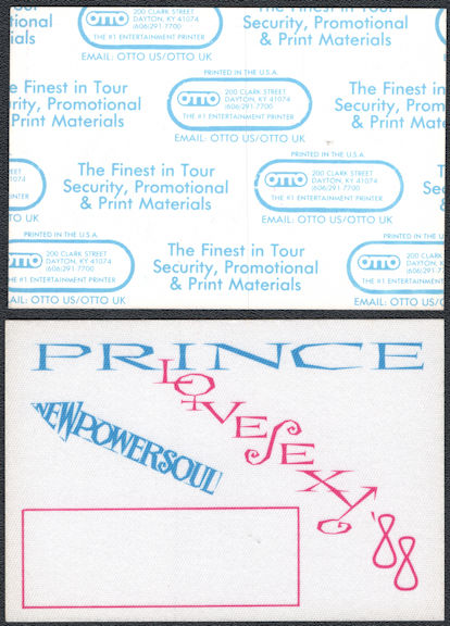 ##MUSICBP0767  - Prince OTTO Cloth Backstage Pass from the 1988 Love Sexy Tour