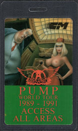 ##MUSICBP0172 - Topless Lady 1989 Aerosmith OTTO Laminated All Areas Backstage Pass from the Pump World Tour