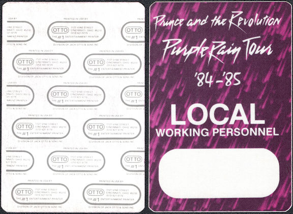 ##MUSICBP0010  - Prince and the Revolution 1984-85 Purple Rain Otto Working Personnel Backstage Pass