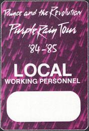 ##MUSICBP0010  - Prince and the Revolution 1984-85 Purple Rain Otto Local Backstage Pass