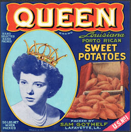 #ZLC476 - Queen Brand Sweet Potatoes Crate Label - Lafayette, Louisiana