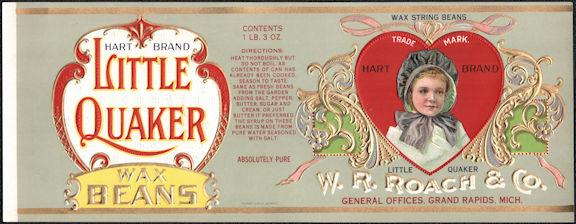 #ZLCA306 - Little Quaker Wax Bean Can Label - Valentines Day