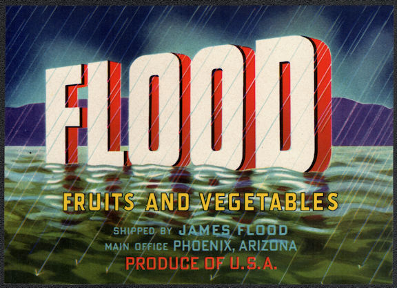 ZLSH402 - Group of 12 Flood Fruit and Vegetables Crate Labels
