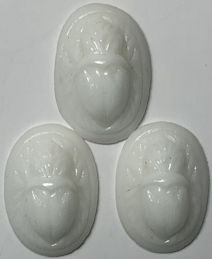 #BEADS0916 - Group of Three 14mm Raised Relief Occupied Japan White Glass Scarabs