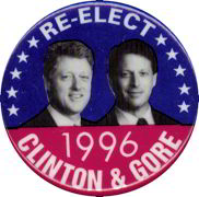#PL167 - Red, White, and Blue Re-Elect Clinton & Gore Jugate Pinback