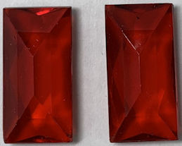 #BEADS0936 - Pair of Large 21mm Rectangular Faceted Ruby Glass Rhinestone Cabochon