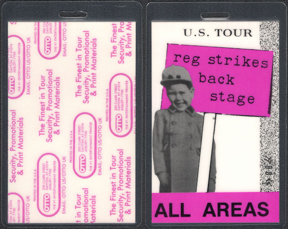 ##MUSICBP0823 - Elton John Laminated All Areas OTTO Backstage Pass from the 1988 Reg Strikes Back Tour