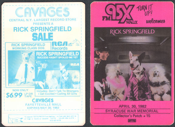 ##MUSICBP0756 - Super Rare Rick Springfield OTTO Cloth Radio Pass - Concert at the Syracuse War Memorial