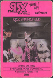 ##MUSICBP0756 - Super Rare Rick Springfield OTTO Cloth Promotional Backstage Pass - Concert at the Syracuse War Memorial