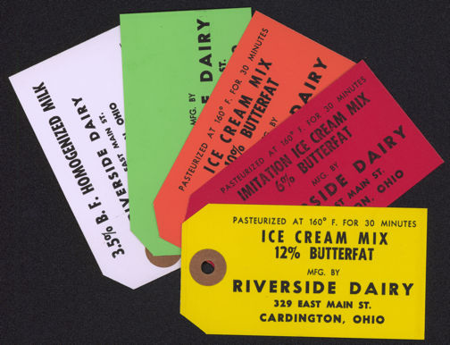 #DA064 - Group of 5 Different Riverside Dairy Cream Can Tags
