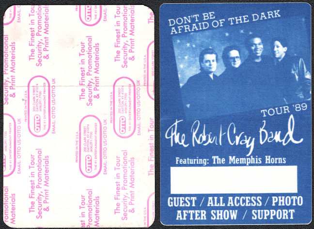 ##MUSICBP0192 - Robert Cray Otto Cloth Backstage Pass from the 1988 Don't Be Afraid of the Dark Tour
