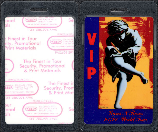 ##MUSICBP0409 - Guns N' Roses Laminated Backstage VIP Pass from the 1991/92 Use Your Illusion Tour