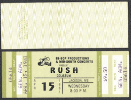##MUSICBP0745 - 1981 Rush Ticket from Jackson, Mississippi