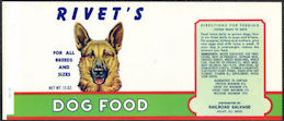 #ZLCA296 - Rivet's Dog Food Can Label - Pictures a German Shepard