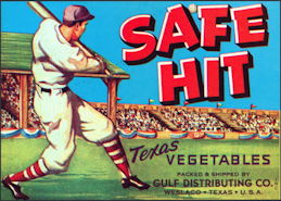 #ZLCA*032 - Safe Hit Texas Vegetable Crate Label