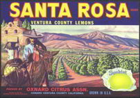 #ZLC184 - Sunkist Santa Rosa Lemon Crate Label