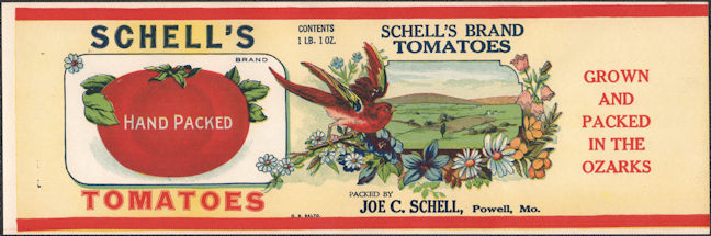 #ZLCA305 - Scarce Schell's Tomatoes Can Label Picturing a Redbird - Powell, MO