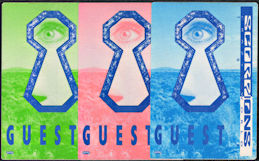 ##MUSICBP0650 - Group of 3 Different Colored Scorpions OTTO Cloth Backstage Guest Passes from the 1990 Crazy World Tour