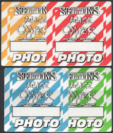 ##MUSICBP0865 - Group of 4 Different Colored Uncommon OTTO Cloth Alice Cooper/Scorpions Backstage Photo Passes from the One Night - One Stage Tour