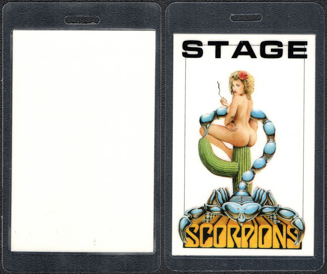 ##MUSICBP0421 - Scarce Scorpions Pinup Laminated Stage Backstage Pass from the 1988-90 Savage Amusement Tour