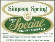 #ZLS102 - Simpson Spring Pale Dry Ginger Ale Soda Bottle Label
