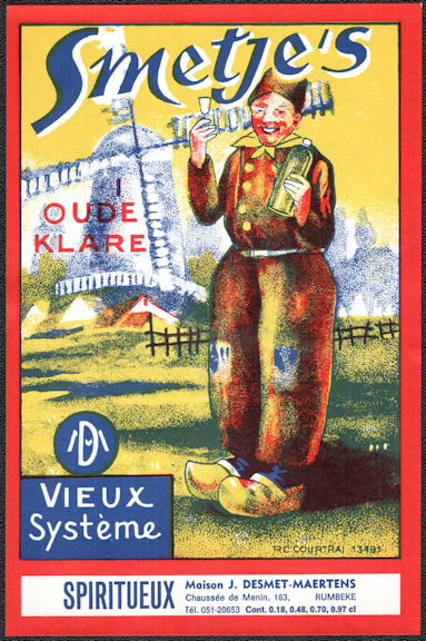 #ZLW171 - Smetje's Dutch Liquor Label - WIndmill
