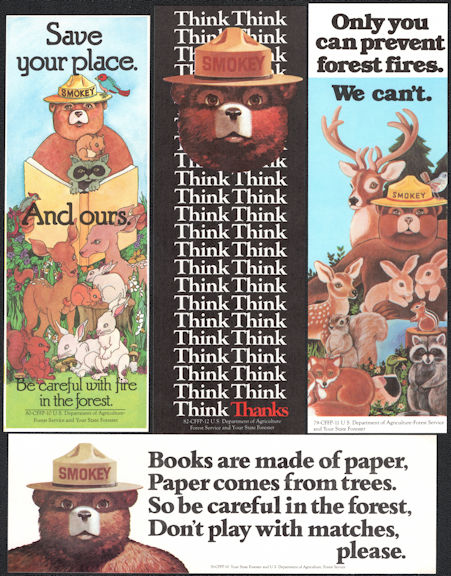 #CH288 - Group of 4 Different Smokey the Bear Bookmarks