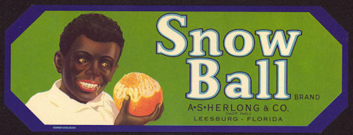 #ZLCA*019 - Snow Ball Brand Orange Crate Label - Black Boy Pictured