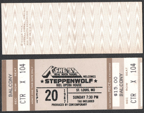 ##MUSICBP0740 - 1987 Steppenwolf Ticket from the Kiel Opera House Concert in 1987