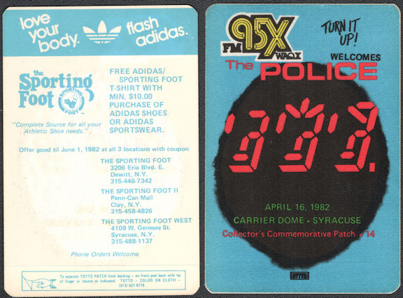 ##MUSICBP0744  - 1982 The Police (and Joan Jett) Ghost Tour OTTO Cloth Backstage Pass - Radio promo 95x FM