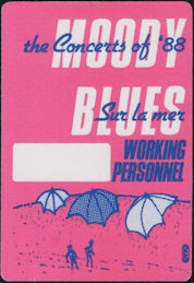 ##MUSICBP0640 - Moody Blues OTTO Cloth Backstage Working Personnel Pass from the Sur la mer Tour