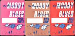 ##MUSICBP0640 - Group of Three Different Moody Blues OTTO Cloth Backstage Passes from the Sur la mer Tour