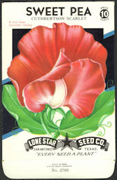 #CE032 - Cuthbertson Scarlet Sweet Pea Lone Star 10¢ Seed Pack - As Low As 50¢ each
