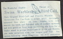 #TY256  - Swiss Warbler Bird Call in Illustrated Envelope