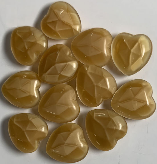 #BEADS0915 - Group of 12 Heart Shaped 12mm Tan Translucent Glass Cabochons