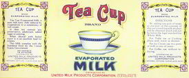 #ZLCA116 - Tea Cup Evaporated Milk Label