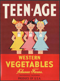 ZLSH205 - Group of 12 Teen-Age Brand Western Vegetables Crate Labels
