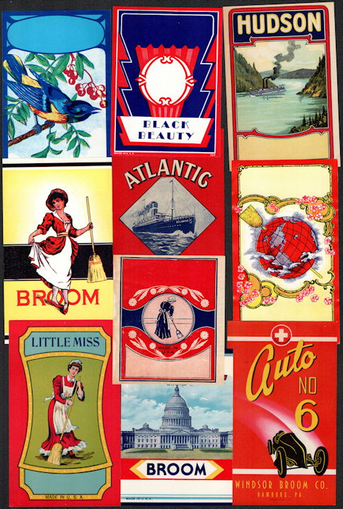 #ZLB150 - Group of 10 Really Nice Broom Labels