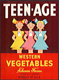 #ZLC450 - Teen-Age Brand Western Vegetables Crate Label