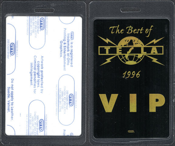 ##MUSICBP0692 - Tesla OTTO Laminated VIP Backstage Pass from the 1996 Best of Tesla Tour