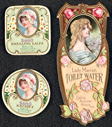 #ZBOT425 - Group of 3 Salux Perfumers Bottle Labels - Real Beauties