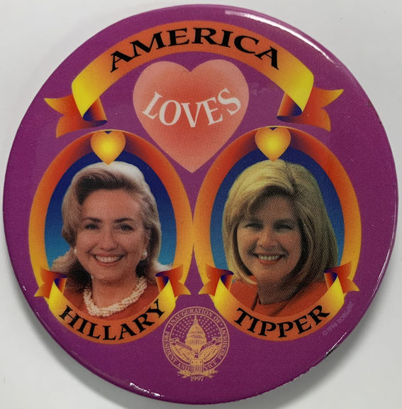 #PL374 - Large Pinback Picturing Young Hillary Clinton and Tipper Gore