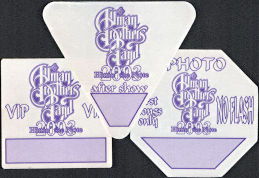##MUSICBP0282  - Three Different Allman Brothers Band Cloth OTTO Backstage Pass from the 2003 Hittin' the Note Tour - VIP, After Show, and Photo
