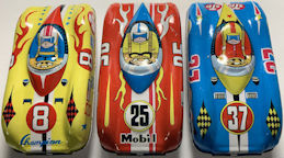 #TY790 - Group of 3 Different Tin Lithograped Toy Cars - Made in Japan - Sunoco, Esso, Shell, etc.