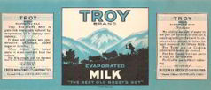#ZLCA072 - Troy Brand Evaporated Milk Label
